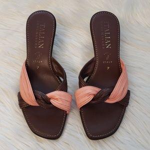 Italian Shoemakers heel sandals brown pink, size 7
